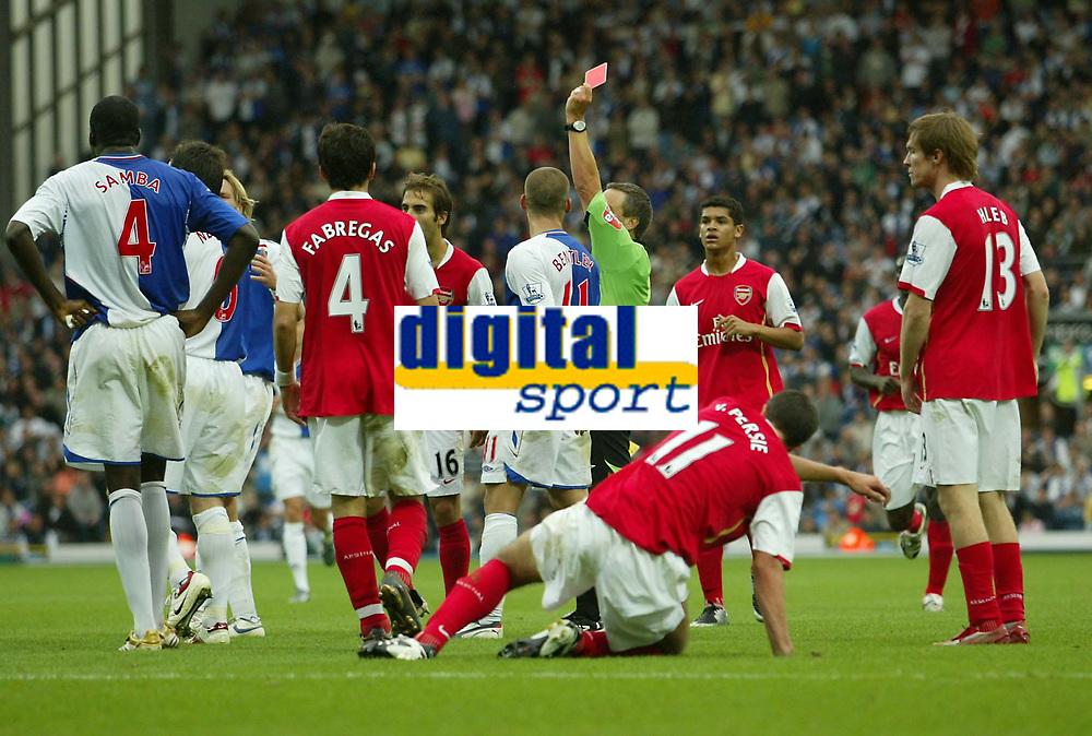 Photo: Aidan Ellis.<br /> Blackburn Rovers v Arsenal. The FA Barclays Premiership. 19/08/2007.<br /> Rovers captain Ryan Nelsen is sent off after bringing down Arsenal's Robin Van Persie