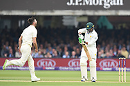 Mark Wood of England starts to celebrate after taking the wicket of Haris Sohail of Pakistan on DAy Two of the NatWest Test Match match at Lord's, London<br /> Picture by Simon Dael/Focus Images Ltd 07866 555979<br /> 25/05/2018
