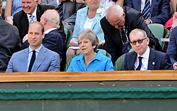 © Licensed to London News Pictures. 15/07/2018. London, UK. HRH The Duke of Cambridge, British prime minister Theresa May and Phillip May watch center court tennis in the royal box on the second day of the Wimbledon Tennis Championships 2018 held at the All England Lawn Tennis and Croquet Club. Photo credit: Ray Tang/LNP
