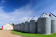 Grain bins and auger  in farmyard - Property Released<br /> Yellow Grass<br /> Saskatchewan<br /> Canada