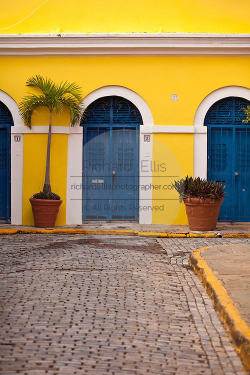 Historic traditional homes along Calle Vertud Old San Juan, Puerto Rico.