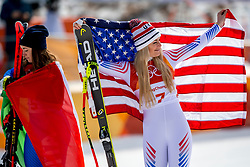21-02-2018 KOR: Olympic Games day 12, PyeongChang<br /> Ladies Downhill at Jeongseon Alpine Centre / Bronze medal for Lindsey Vonn, of the United States, Sofia Goggia, of Italy,