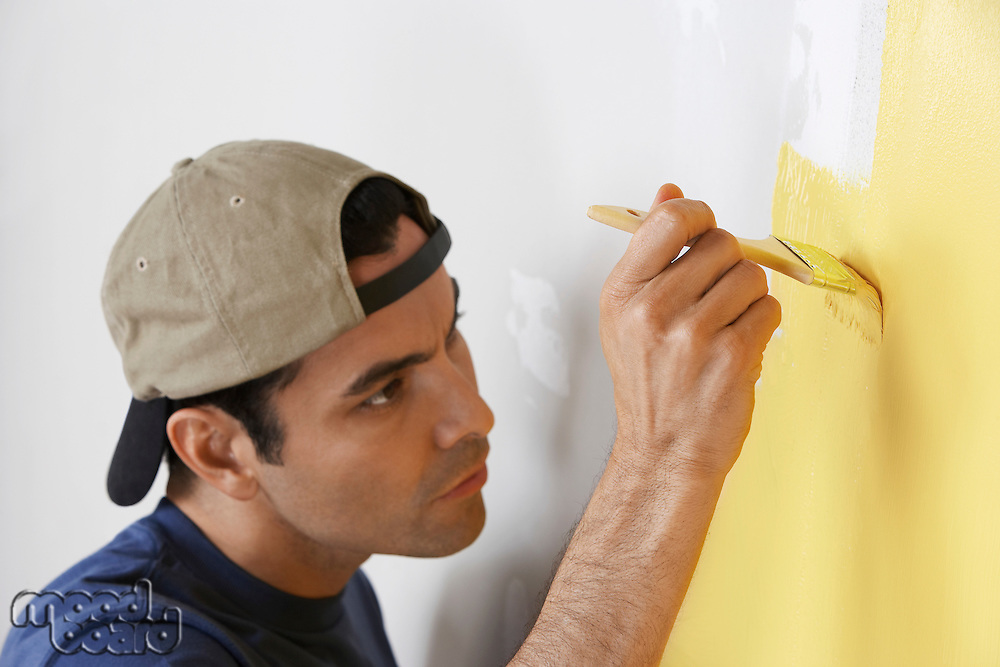 Man Carefully Painting Wall