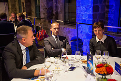 Zdravko Pocivalsek, Aleksander Ceferin and Maja Makovec Brencic at Official dinner ahead to the UEFA Futsal EURO 2018 Draw, on September 28, 2017 in Ljubljanski grad, Ljubljana, Slovenia. Photo by Vid Ponikvar / Sportida