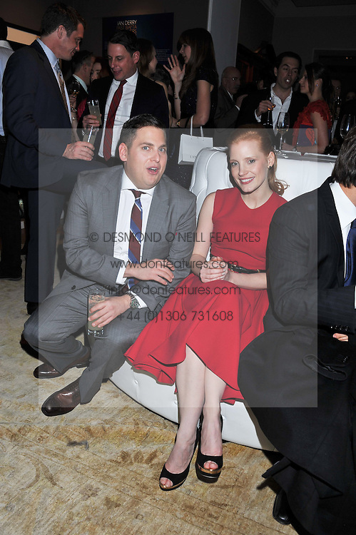 JESSICA CHASTAIN and JONAH HILL at the Asprey BAFTA Party held at Asprey, 167 New Bond Street, London on 11th February 2012.