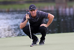 September 22, 2018 - Atlanta, GA, U.S. - ATLANTA, GA - SEPTEMBER 22:     Rory McIlroy lines up his putt on the 15th hole during the third round of the Tour Championship on September 22, 2018, at East  Lake Golf Club in Atlanta, GA.  (Photo by Michael Wade/Icon Sportswire) (Credit Image: © Michael Wade/Icon SMI via ZUMA Press)