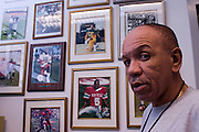 "Coach Robert Taylor of Santa Monica College has ""his guys"" complementing an entire wall in his office in Santa Monica, Ca. Dec. 6, 2005."