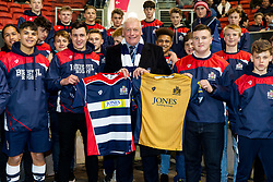 Steve Gorvett presents match shirts to the Bristol Rugby Academy Portugal touring parties - Rogan Thomson/JMP - 24/03/2017 - RUGBY UNION - Ashton Gate Stadium - Bristol, England - Bristol Rugby v Gloucester Rugby - Aviva Premiership.