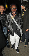 06.MAY.2010. LONDON<br /> <br /> WILL.I.AM FROM THE BLACK EYED PEAS LEAVING CIRQUE DU SOIR CLUB IN MAYFAIR AT 4.00AM AND THEN HEADED ONTO JET BLACK CLUB IN SOHO WHERE HE STAYED TILL 5.00AM AND LEFT WITH A CAR FULL OF GIRLS AND CHECKED ONE GIRLS BUM OUT AS SHE GOT IN THE CAR, BEFORE ALL GOING BACK TO THEIR HOTEL.<br /> <br /> BYLINE: EDBIMAGEARCHIVE.COM<br /> <br /> *THIS IMAGE IS STRICTLY FOR UK NEWSPAPERS AND MAGAZINES ONLY*<br /> *FOR WORLD WIDE SALES AND WEB USE PLEASE CONTACT EDBIMAGEARCHIVE - 0208 954 5968*