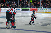 KELOWNA, BC - DECEMBER 27:  Pepsi player Zander Mondeaux exits the ice after the national anthem at the Kelowna Rockets against the Kamloops Blazers at Prospera Place on December 27, 2019 in Kelowna, Canada. (Photo by Marissa Baecker/Shoot the Breeze)