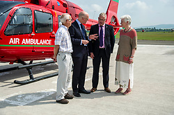 Pictured:  Volunteer Donald Dunlop; John Swinney; SCAA Chief Executive David Craig and Volunteer lorna Cranston<br /> <br /> Deputy First Minister and local MSP  John Swinney visited Perth Airport today to visit Scotland's Charity Air Ambulance. The Perthshire North MSP will meet volunteers and present certificates to mark the start of National Volunteers' Week.<br /> <br /> <br /> Ger Harley | EEm 1 June 2018