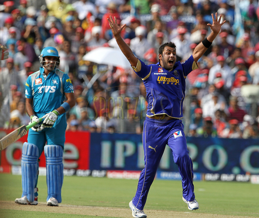 Rajasthan Royals player Stuart Binny appeals during match 52 of the Indian Premier League ( IPL) 2012  between The Pune Warriors India and the Rajasthan Royals held at the Subrata Roy Sahara Stadium, Pune on the 8th May 2012..Photo by Vipin Pawar/IPL/SPORTZPICS