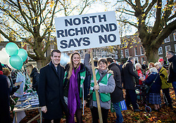 """© Licensed to London News Pictures. 19/11/2016. Richmond, UK. Campaigners take part in a demonstration against the expansion of Heathrow Airport and the building of a third runway. Former conservative MP Zac Goldsmith is due to take part in a series of events in which some activists have threatened """"direct action"""". Photo credit: Ben Cawthra/LNP"""