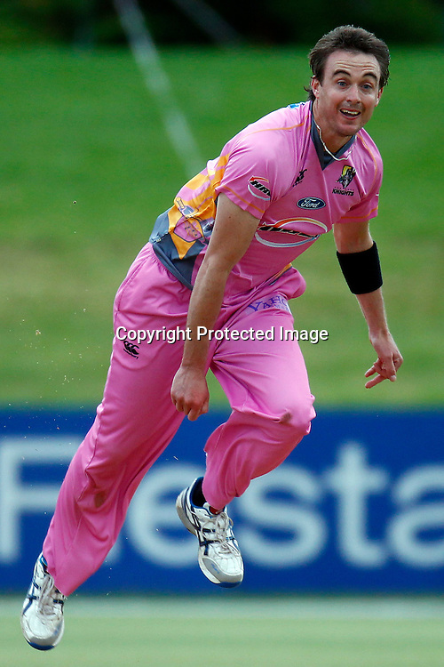 Graeme Aldridge bowls during the HRV Cup match between the Northern Knight v Wellington Firebirds. Men's domestic one day cricket. Blake Park, Mt Maunganui, New Zealand. 4 January 2012. Ella Brockelsby / photosport.co.nz