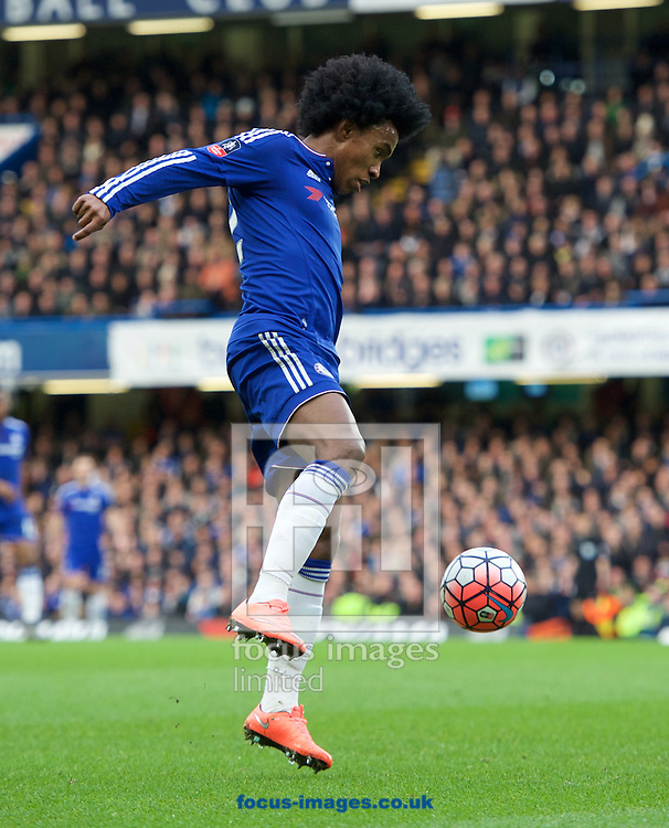 Willian of Chelsea during the FA Cup match at Stamford Bridge, London<br /> Picture by Alan Stanford/Focus Images Ltd +44 7915 056117<br /> 21/02/2016