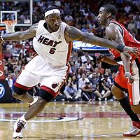 08 March 2011: Miami Heat small forward LeBron James (6) drives past Portland Trail Blazers guard Wesley Matthews (2) during the Portland Trail Blazers 105-96 victory over the Miami Heat at the AmericanAirlines Arena, Miami, Florida, USA.