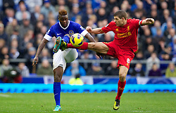 28.10.2012, Goodison Park, Liverpool, ENG, Premier League, FC Everton vs FC Liverpool, 9. Runde, im Bild Liverpool's captain Steven Gerrard MBE in action against Everton's Magaye Gueye during the English Premier League 9th round match between Everton FC and Liverpool FC at the Goodison Park, Liverpool, Great Britain on 2012/10/28. EXPA Pictures © 2012, PhotoCredit: EXPA/ Propagandaphoto/ David Rawcliffe..***** ATTENTION - OUT OF ENG, GBR, UK *****
