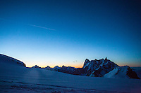 A sunrise over Valle Blanche, as seen from a basecamp at Col du Midi, Chamonix, France.