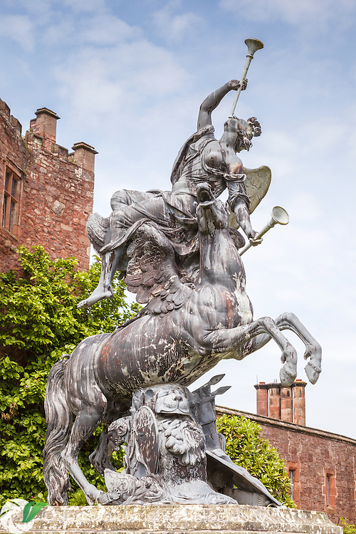The statue of Fame and Pegasus by Andries Carpentiere,  dates from around 1705, it is located in the West Courtyard of Powis Castle, Welshpool, Mid Wales.
