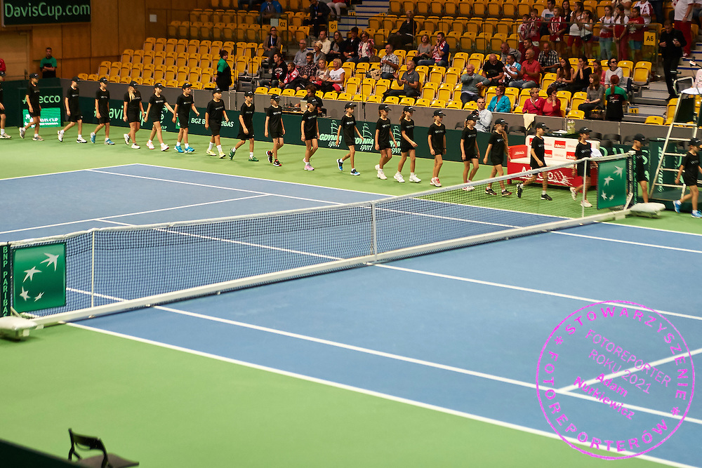 Ball kids while opening ceremony during Davis Cup Tie World Group Play-off Poland v Slovakia at Gdynia Arena Hall in Gdynia, Poland.<br /> <br /> Poland, Gdynia, September 18, 2015<br /> <br /> Picture also available in RAW (NEF) or TIFF format on special request.<br /> <br /> For editorial use only. Any commercial or promotional use requires permission.<br /> <br /> Adam Nurkiewicz declares that he has no rights to the image of people at the photographs of his authorship.<br /> <br /> Mandatory credit:<br /> Photo by &copy; Adam Nurkiewicz / Mediasport