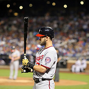 NEW YORK, NEW YORK - July 08: Bryce Harper #34 of the Washington Nationals on deck preparing to bat as Daniel Murphy #20 of the Washington Nationals is at the plate during the Washington Nationals Vs New York Mets regular season MLB game at Citi Field on July 08, 2016 in New York City. (Photo by Tim Clayton/Corbis via Getty Images)