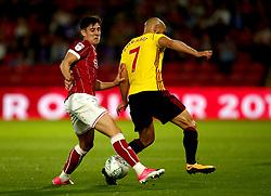 Callum O'Dowda of Bristol City tackles Nordin Amrabat of Watford - Mandatory by-line: Robbie Stephenson/JMP - 22/08/2017 - FOOTBALL - Vicarage Road - Watford, England - Watford v Bristol City - Carabao Cup