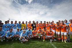 © Licensed to London News Pictures . 02/08/2015 . Droylsden Football Club , Manchester , UK . Post match teams photo . Celebrity football match in aid of Once Upon a Smile and Debra , featuring teams of soap stars . Photo credit : Joel Goodman/LNP