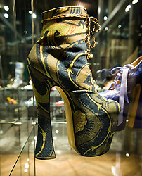 © licensed to London News Pictures. The Bowes Museum, County Durham, UK  09/06/11...An exhibition celebrating the ingenuity and creativity of the British fashion designer Dame Vivienne Westwood, focusing on her shoe designs, takes place at The Bowes Museum in County Durham...Vivienne Westwood's shoes are celebrated the world over for leading the way in design, creativity and style and have become famous British icons in their own right...Please see special instructions for usage rates. Photo credit should read Ian Forsyth/LNP