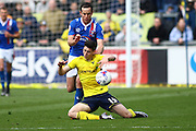 Carlisle United Midfielder Luke Joyce and Oxford midfielder Callum O'Dowda collide during the Sky Bet League 2 match between Carlisle United and Oxford United at Brunton Park, Carlisle, England on 30 April 2016. Photo by Craig McAllister.