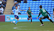 Long range shot Adam Armstrong during the Sky Bet League 1 match between Coventry City and Rochdale at the Ricoh Arena, Coventry, England on 5 March 2016. Photo by Daniel Youngs.