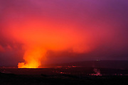 Lava steam vent glowing at night in the Halemaumau Crater, Hawaii Volcanoes National Park, Hawaii USA