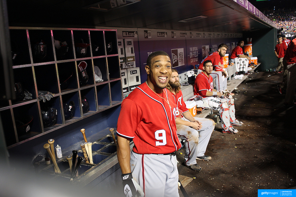 NEW YORK, NEW YORK - July 09: Ben Revere #9 of the Washington Nationals in the dugout preparing to bat during the Washington Nationals Vs New York Mets regular season MLB game at Citi Field on July 09, 2016 in New York City. (Photo by Tim Clayton/Corbis via Getty Images)