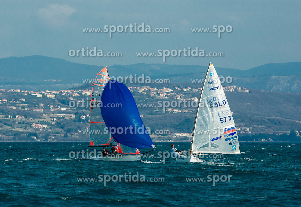"Vasilij Zbogar of Slovenia, two times Olympic medalist in sailing during christening of his new Finn class boat named ""Izola"" and ceremonial launching, on February 28, 2015 in Izola / Isola, Slovenia. Photo by Vid Ponikvar / Sportida"