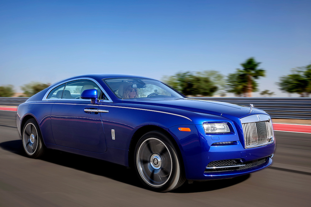 2015 Rolls Royce Wraith, Salamanca Blue.  Photographed on Thermal raceway in the Coachella Valley