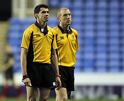Referee Pascal Gauzere and his touch judge watch the big sreen - Photo mandatory by-line: Robbie Stephenson/JMP - Mobile: 07966 386802 - 05/04/2015 - SPORT - Rugby - Reading - Madejski Stadium - London Irish v Edinburgh Rugby - European Rugby Challenge Cup