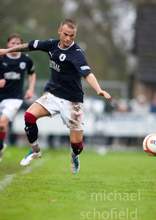 Falkirk's Kallum Higginbotham..Annan Athletic 0 v 3 Falkirk. Semi Final of the Ramsdens Cup, 9/10/2011..Pic © Michael Schofield.