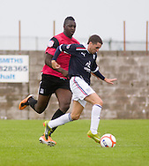 Trialist Jamie McCluskey and Southend United's Allesand N'Dyae - Dundee v Southend United - East Fife Tournament at New Bayview<br /> <br /> &copy; David Young<br /> <br /> <br /> http://www.davidyoungphoto.co.uk