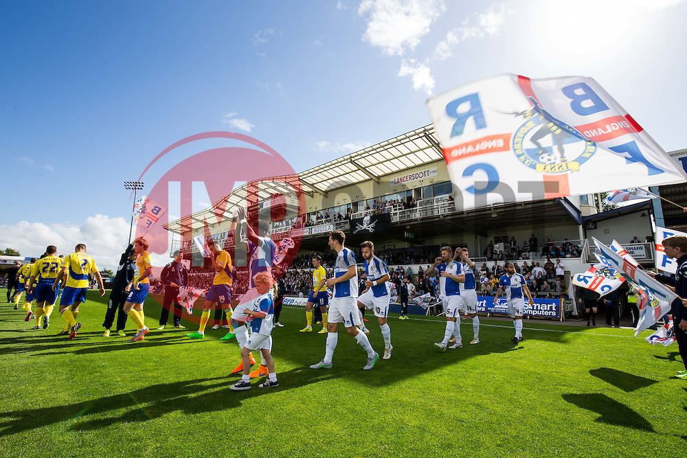 The two sides walk out before kickoff - Mandatory byline: Rogan Thomson/JMP - 07966 386802 - 12/09/2015 - FOOTBALL - Memorial Stadium - Bristol, England - Bristol Rovers v Accrington Stanley - Sky Bet League 2.