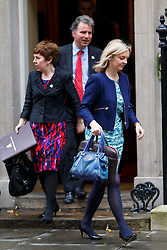© Licensed to London News Pictures. 02/12/2014. LONDON, UK. Tina Stowell and Environment Secretary Liz Truss attending to a cabinet meeting on Downing Street on Tuesday, 2 December 2014. Photo credit: Tolga Akmen/LNP