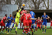Walsall goalkeeper Neil Etheridge (1) punching the ball from corner during the EFL Sky Bet League 1 match between AFC Wimbledon and Walsall at the Cherry Red Records Stadium, Kingston, England on 25 February 2017. Photo by Matthew Redman.