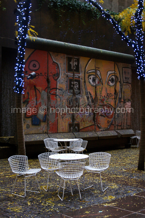 Empty table and chairs in autumn Midtown Manhattan New York