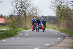 Team WNT riders approach a sharp corner during Stage 2 of the Healthy Ageing Tour - a 19.6 km team time trial, starting and finishing in Baflo on April 6, 2017, in Groeningen, Netherlands.