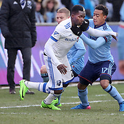 NEW YORK, NEW YORK - March 18:  Ambroise Oyongo #2 of Montreal Impact is challenged by Jonathan Lewis #17 of New York City FC  during the New York City FC Vs Montreal Impact regular season MLS game at Yankee Stadium on March 18, 2017 in New York City. (Photo by Tim Clayton/Corbis via Getty Images)