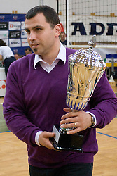 Igor Dolinsek of Slovenian Volleyball federation with a Trophy at final match of Slovenian National Volleyball Championships between ACH Volley Bled and Salonit Anhovo, on April 24, 2010, in Radovljica, Slovenia. ACH Volley defeated Salonit 3rd time in 3 Rounds and became Slovenian National Champion.  (Photo by Vid Ponikvar / Sportida)