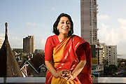 Naina Kidwai, CEO of HSBC, Mumbai, India.  Photographed at her home in Mumbai, India for Fortune Magazine.