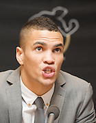 Boxer Anthony Ogogo<br /> Middle Weight 2012 Olympic Bronze Medalist <br /> press conference <br /> to announce his signing to Golden Boy Promotions <br /> Mayfair, London, Great Britain<br /> 16th January 2013<br /> with Golden Boy CEO Richard Schaeffer <br /> Anthony Ogogo <br /> Photograph by Elliott Franks