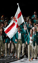 Northern Ireland's flag bearer Caroline O'Hanlon leads the team out during the Opening Ceremony for the 2018 Commonwealth Games at the Carrara Stadium in the Gold Coast, Australia.