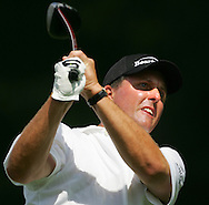 Golfer Phil Mickelson, of the United States, watches a shot during the first round of the 2005 PGA Championship at Baltusrol Golf Club in Springfield, New Jersey, Thursday 11 August 2005.