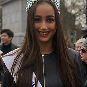 London, England, UK. 30th Dec 2018. Francesca Miles of Miss Central London attend free preview for The London New Year's Day Parade with a special performance in Trafalgar Square.