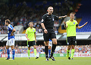 Referee Keith Hill gives a free kick during the Sky Bet Championship match between Ipswich Town and Brighton and Hove Albion at Portman Road, Ipswich, England on 29 August 2015.